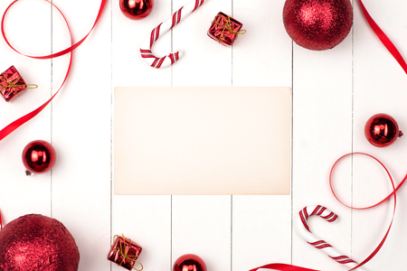 Cosmetics top view composition. Christmas. New Year flat lay frame.