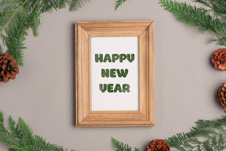 Happy New Year. Christmas decorating elements. Flat layout composition with copy space  Stock Photo