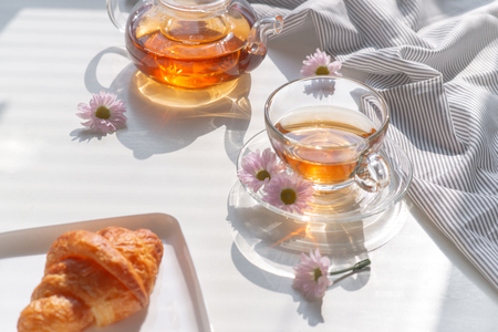 Cup of tea and dessert in the morning, relaxing time Stok Fotoğraf