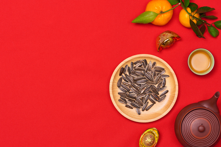 Conceptual flat lay Chinese New Year food and drink still life. Stock Photo
