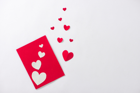 Valentine card with red heart and ribbon Stok Fotoğraf - 93936200