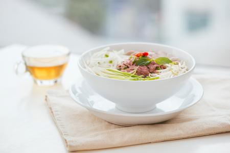 A bowl of traditional Vietnamese Pho noodle Foto de archivo