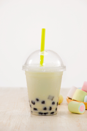 Strawberry Boba Bubble Tea with marshmallow and crushed ice.