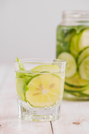 Detox water with vegetables and fruits. Diet healthy eating and weight loss. Stock Photo - 95079113
