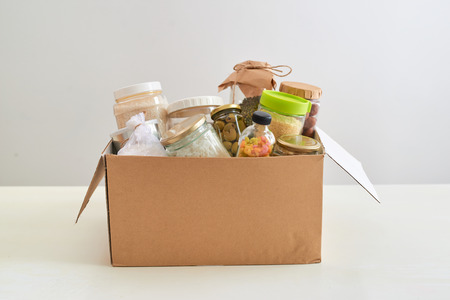 Food in a donation box for poor.