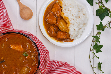 Delicious and spicy Chicken curry roast from Indian cuisine.