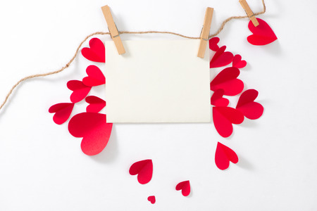 Love background. Greeting card with red paper hearts. Stok Fotoğraf - 97280999