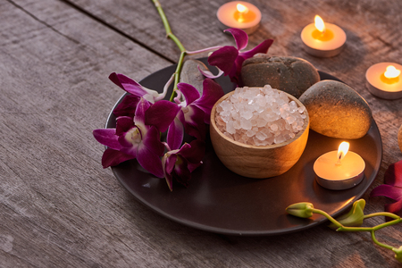 Spa setting and health care items on dark wooden background. Space for text