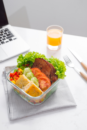 Food in the office. Healthy lunch for work. Stock Photo