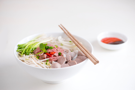 A bowl of traditional Vietnamese Pho noodle Stok Fotoğraf - 99234321
