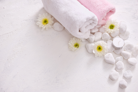 monochrome cosmetic set in SPA concept on white background