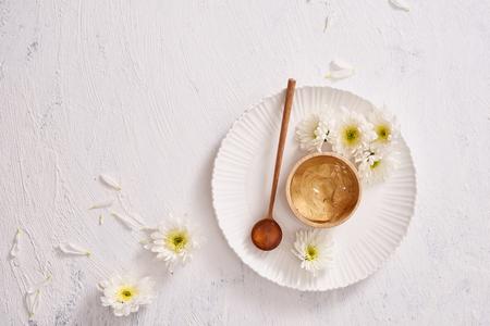 natural herbal smoothing gel green tea for skin on background white Banco de Imagens