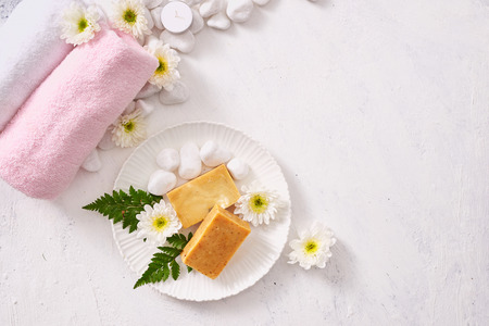 close up of body care cosmetic products on stone table Imagens