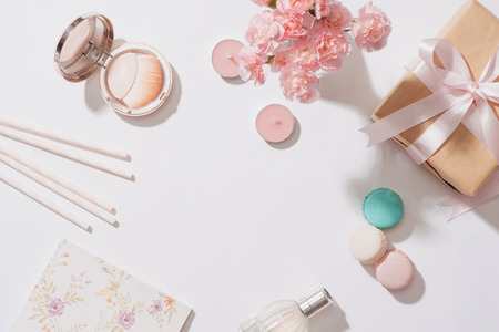 Creative and fashion composition. Stationery objects on desk. Flat lay. Accessories on the table, woman desk top 写真素材