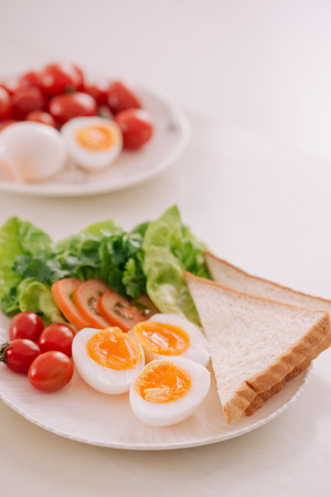 Various ways of cooking chicken eggs. Breakfast with eggs. Stock Photo