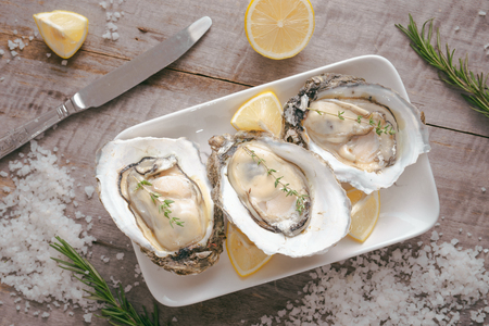Opened oysters, lemon on gray stone table. Half dozen. With copy space Stockfoto - 100870511