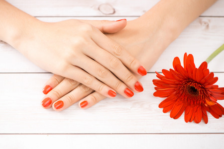 Woman hands manicure red nails. Focus on flower.