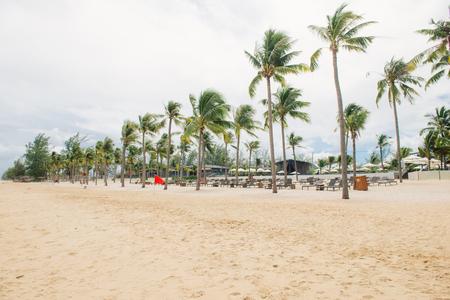 Tropical beach. Ocean vacation destination scene Stock Photo