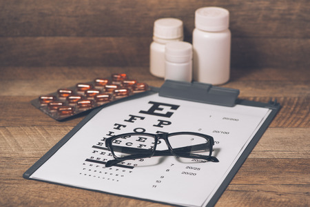 Healthy eyes. Eye chart and medicine