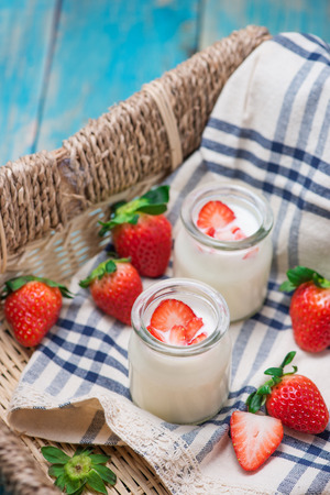 Strawberry Yoghurt. Healthy food with Strawberries and yoghurt breakfast on table.