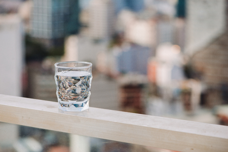Closeup Glass of water on table nature background Stock Photo