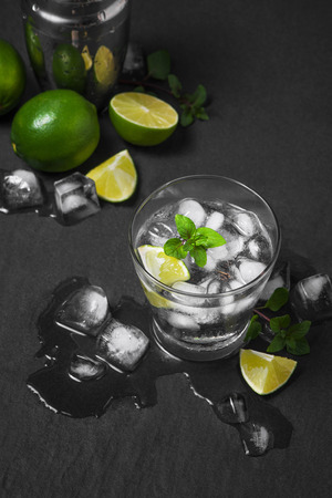 Studio shot of fresh mojito drinks with slime slices, isolated on a grey stone background 스톡 콘텐츠