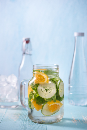 Detox water with vegetables and fruits. Diet healthy eating and weight loss. Stok Fotoğraf