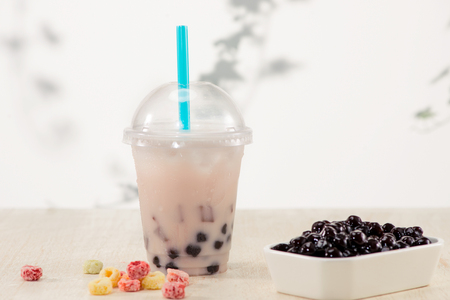 Homemade Boba Bubble Tea with candy and ice.