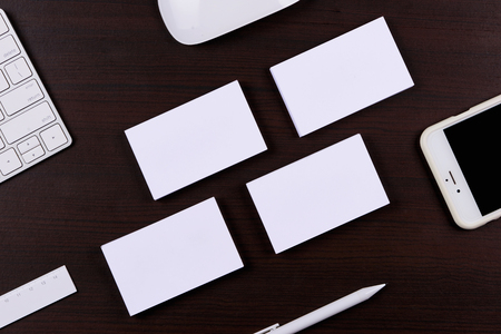 Working place, wooden table. Top view office corporate design mockup template Stock Photo