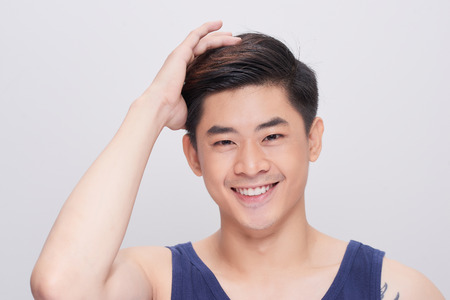 Portrait of a handsome man with healthy skin face. 写真素材