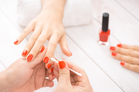 Manicure making in a beauty spa salon Stock Photo