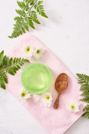 Soothing gel aloe vera formula represent the cosmetic and bodycare. Stockfoto