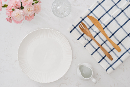 table setting of the fork and spoon Stock Photo