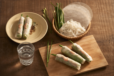 Fresh spring rolls with shrimps on bamboo dish