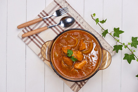 Bo Kho - Vietnamese beef stew cooked with lemongrass, star anise, bay leaf and cassia bark served with rice. Stockfoto
