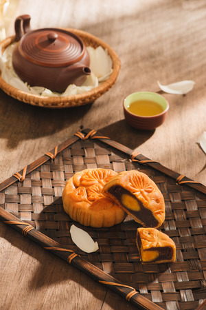 Mooncakes,which are Vietnamese pastries traditionally eaten during the Mid-Autumn Festival. Text on cake mean happiness. 免版税图像