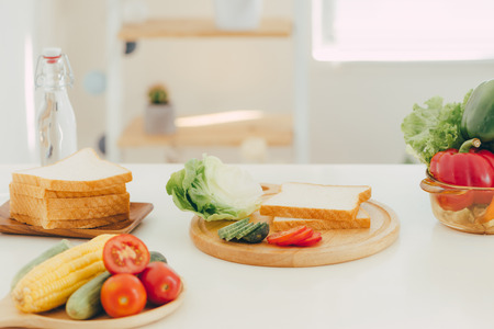 slice bread, prepare for make a sandwich in kitchen room
