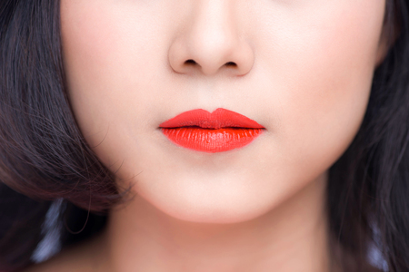 Macro of woman's face part. Red lips makeup. Stock Photo - 106382426