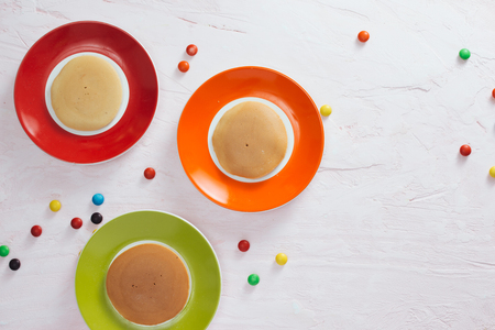 Creative breakfast for children on white background, top view Stok Fotoğraf - 107460878