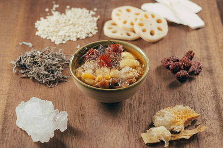 Assorted Vietnamese Dessert : Lotus foots , White jelly fungus, seaweed and jujube in syrup