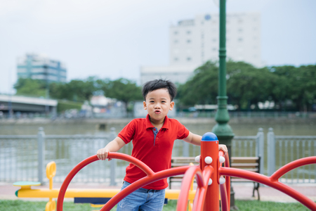Little asian boy riding a swing and rejoices