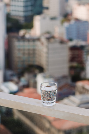Closeup Glass of water on table nature background Banco de Imagens