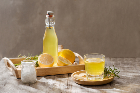Ginger Ale - Homemade lemon and ginger organic soda drink, copy space. Stock Photo