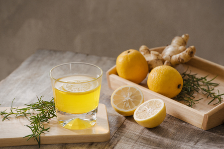 Slimming tea with ginger, lemon and vitamins Stock Photo