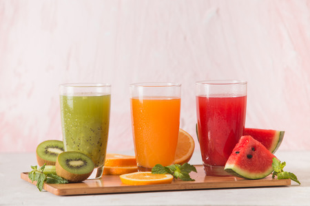 Assortment of fruit and vegetables juice in glass. Fresh organic ingredients, health or detox diet food concept