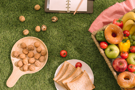 Picnic on the grass. Red checked tablecloth, basket, healthy food sandwich and fruit, orange, milk. Summer Time Rest. Reklamní fotografie