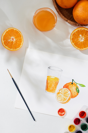 Tropical summer concept made of orange fruit and hand drawing illustration.