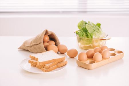 Kitchen Still Life.Fresh eggs in a Sack bag.