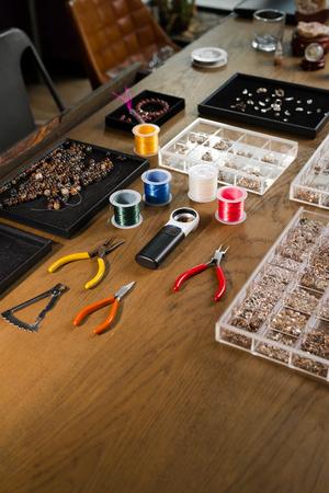 Jewelry tools. Goldsmith workplace. Hand craft. Workshop. Stock Photo