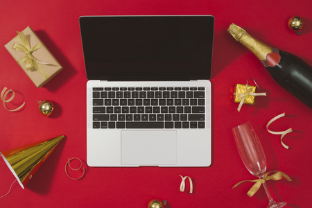 Flat lay, top view office table desk. Workspace with laptop and christmas decorations on white background